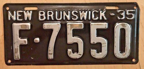 "NICE! 1935 NEW BRUNSWICK CANADA PASSENGER AUTO LICENSE PLATE "" F 7550 "" NB 35"