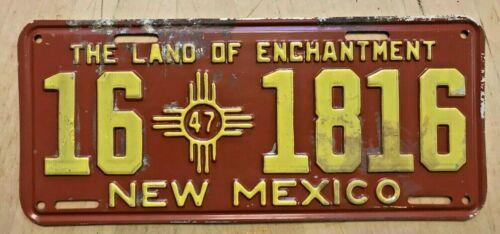 "1947 NEW MEXICO AUTO PASS LICENSE PLATE "" 16 1816 "" NM 47 ALL ORIGINAL CONDITION"