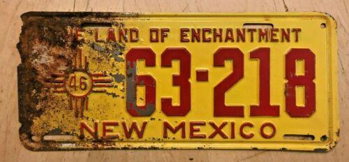 "1946 NEW MEXICO  LICENSE PLATE "" 63 218 "" NM 46 ALL ORIGINAL CONDITION"