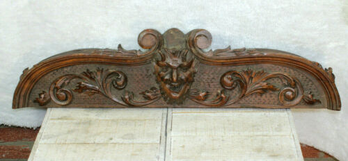 Antique black forest wood carved pediment fronton devil gothic castle head