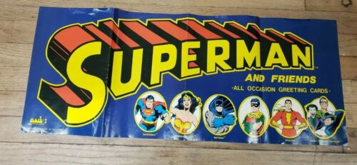 SUPERMAN and Friends greeting cards poster 1978 Mark I 12 by 30 promo DC Comics