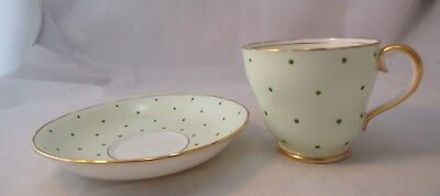 ADDERLEY Helen Moore English Bone China Cup & Saucer Handpainted Green Dots