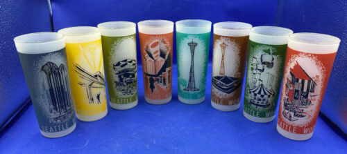 Vintage 1962 Seattle Worlds Fair Complete Set of 8 Frosted Glasses/Tumblers