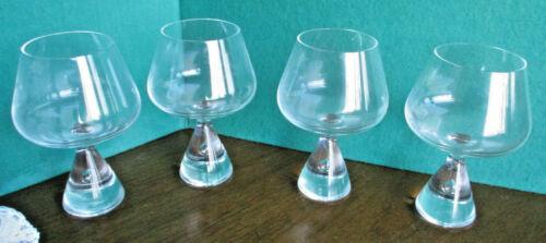 4 HOLMEGAARD CRYSTAL PRINCESS BRANDY COGNAC GLASSES SIGNED MINT FREE SHIPPING