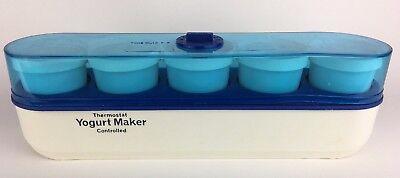 Salton Thermostat Controlled Yogurt Maker (YM-4) Blue White 5 Glass Yogurt Cups