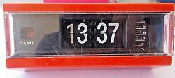 Vtg Japan Copal Flip Alarm Clock Eames Mid Century Modern Space Age Red Digital