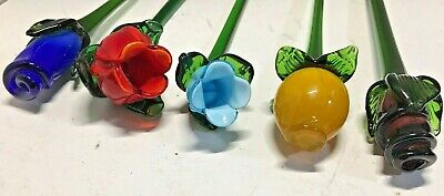 5 MULTICOLOR HANDCRAFTED HANDBLOWN ART GLASS FLOWERS, FREE SHIPPING