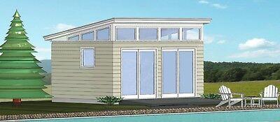 Pool House   Plans Blueprints  12 Ft X 16 Ft Modern