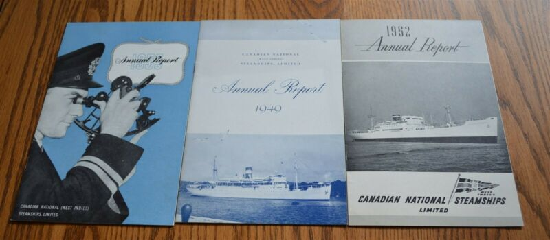 3 Canadian National Steamships Annual Reports 1949, 1952, 1955