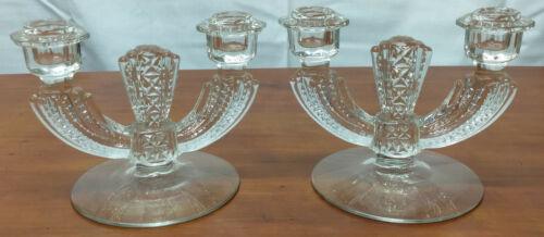 308-92 US Glass WILLIAMSBURG Elegant Pressed Pattern Pair 2 Light CANDLEHOLDERS