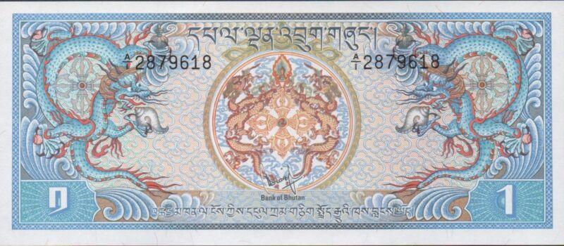 Bhutan 1 Ngultrum  ND. 1981  P 5a  Uncirculated  Banknote