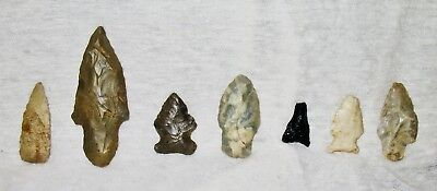 7 Old Indian Arrowheads-Early American Collectibles