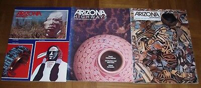 LOT OF 3 ARIZONA HIGHWAYS -NATIVE AMERICAN POTTERY-PAINTINGS-JEWELRY-SCULPTORS