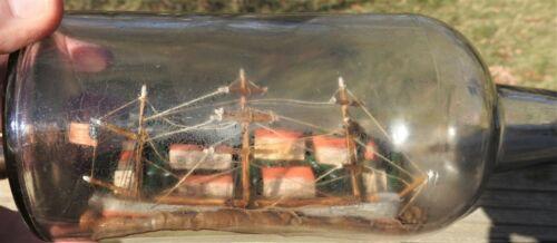 Folk Art Ship in Bottle Antique Vintage Schooner US Flag Lighthouses Diorama