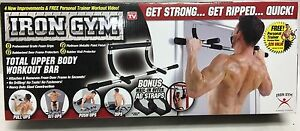 Iron Gym Total Upper Body Workout Bar Door Frame Exercise Tool Seen On TV - NEW