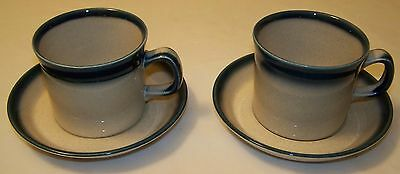 Wedgwood Blue Pacific Cups and Saucers - Lot of 2