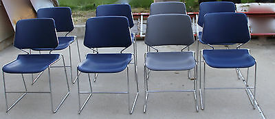 8 Matrix Stack Chair -6 Blue 2 Gray Chairs