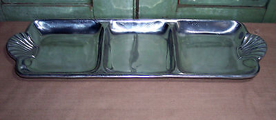 Vintage Wilton Armetale Pewter Scalloped Handled Divided Tray 19-3/4