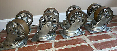 8 Vintage Industrial Metal Cast Iron Albion Caster Wheels 6.5 Michigan Usa