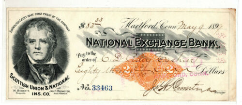 US revenue stamped paper bank check  SC#RN-X7  Scottish Union Ins ID#S901