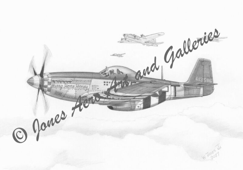 """P-51 Mustang """"Hurry Home Honey"""" Limited Edition Giclee Art Print by Willie Jones"""