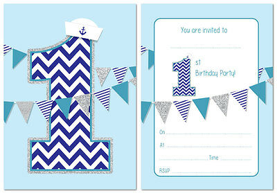 First Birthday Party Invitations - Boys Nautical theme with bunting - pack of - Nautical Themed First Birthday