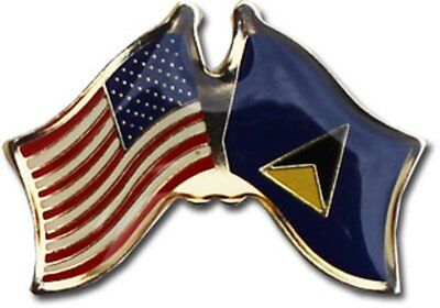 Wholesale Pack of 50 USA American St Lucia Friendship Flag Hat Cap lapel Pin