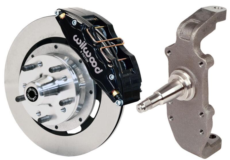"Wilwood Disc Brake Kit & 2"" Drop Spindles,front,55-57,12"",6 Piston Black,heidt"