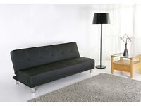 Black Faux Leather Sofa/Bed
