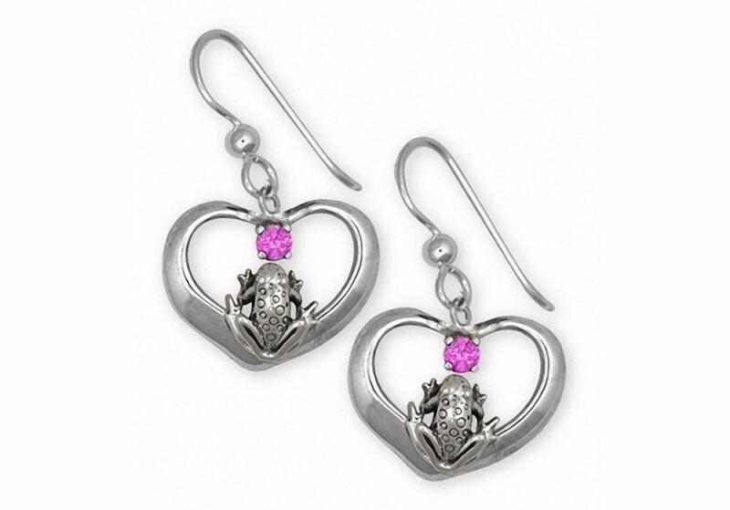 Frog Earrings Jewelry Sterling Silver Handmade Frog Earrings FGH1-SE