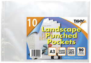 10 x A3 LANDSCAPE PUNCHED POCKETS