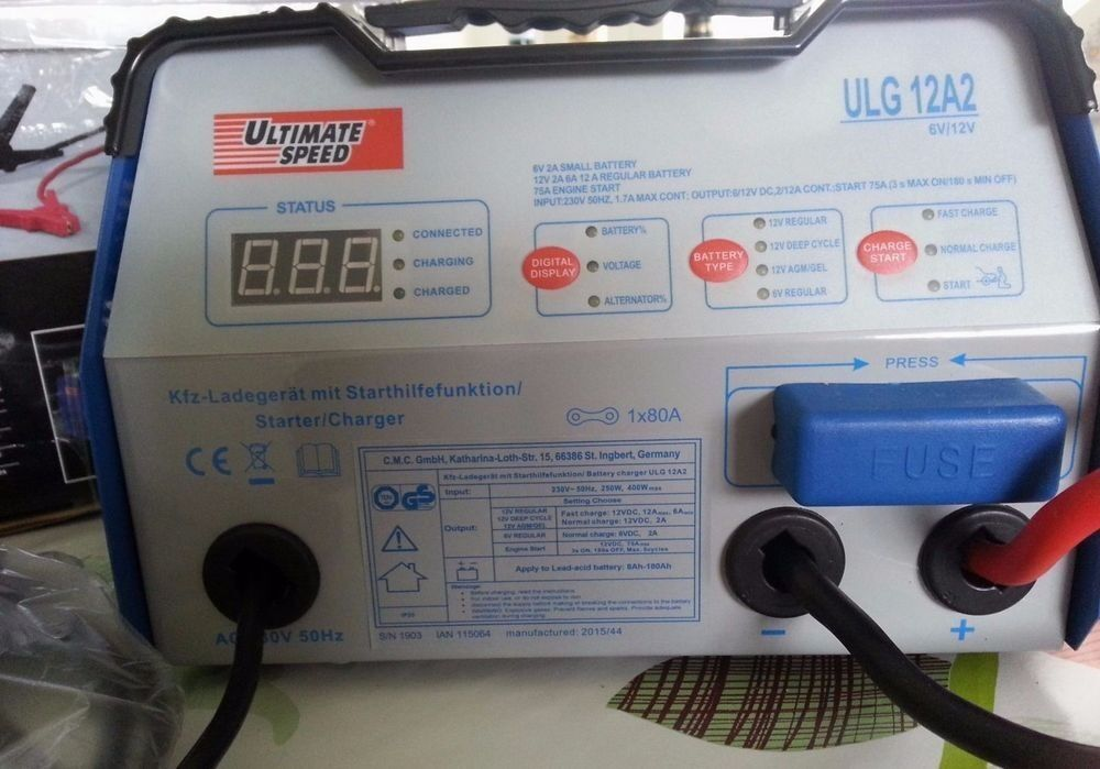 Car Vehicle Battery Charger with Jump Start Function ULG 12 A2 Wire Petrol Diesel Workshop Garage