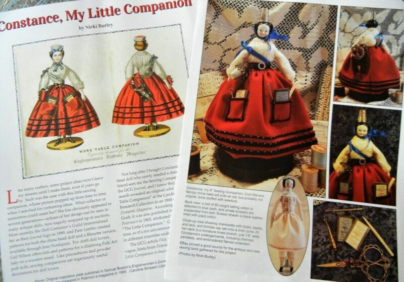 5p History Article + Pattern to Make -  Antique Sewing Companion Dolls