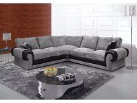 Stylish Ashley jumbo corner sofa free pouffe