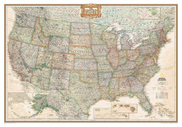 Poster USA Landkarte Antik Look laminiert Querformat 178x124cm #100185L