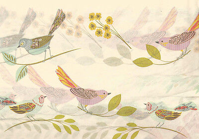 Pastel BIRDS on Cream Tissue Paper #251 ~ 10 Large Sheets