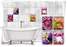 Fliesen-Aufkleber SPA Wellness Bade-Salz Orchidee Hortensien Violett Rosa Bad WC