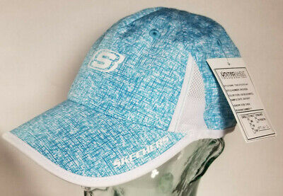 215b0a3c Skechers Tone Athletic Hat Cap Blue White Strapback Womens Dada RARE  PROTOTYPE!