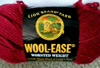 Lion Brand Wool-Ease Yarn, Worsted 4 ply, 3 oz/85g, Cranberry 4 Ply Wool Yarn