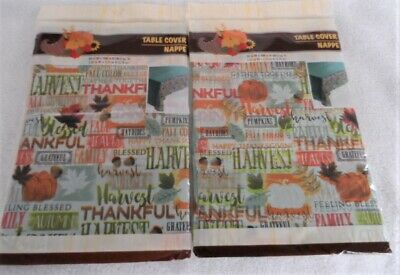 Fall Harvest Thankful Thanksgiving Tablecloth 2 Pack plastic party supplies