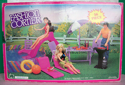 Vintage 1988 BARBIE doll Fashion corner COUNTRY CLUB POOL Play Set - MINT