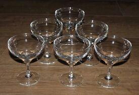 6 Vintage Champagne Saucers, Coupe Glasses with Hexagonal Stems