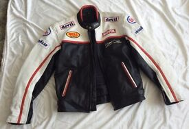PADDED LEATHER MOTORCYCLE JACKET