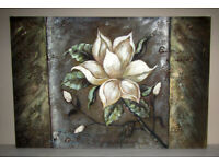 Picture painting oil on canvas stretched on frame White Flower 3ft x 2ft unknown artist