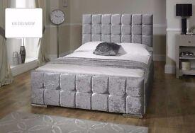 【BRAND NEW】DOUBLE BED CHESTERFIELD SLEIGH STYLE UPHOLSTERED DESIGNER BED FRAME CRUSHED VELVET SALE