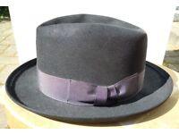 Men's vintage 1950s black Homburg hat