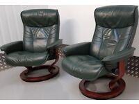 Ekornes Stressless 2 swivel recliner Hunter Green leather chairs