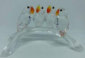 Swarovski Crystal Four Parrots on a Branch