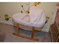 Babies R Us Moses Basket and Rocking Stand - Excellent condition