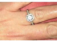 Authentic hallmark silver ring crystal stone center